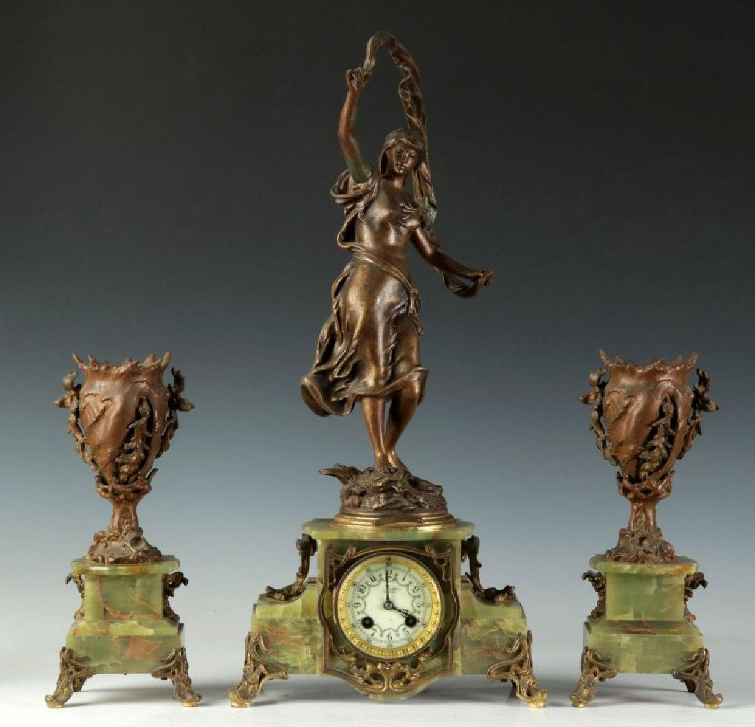 AFTER AUGUSTE MOREAU (1834-1917) FRENCH CLOCK SET