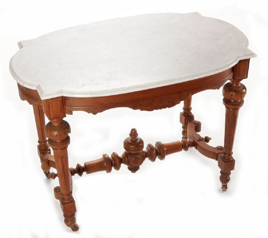 A VICTORIAN WALNUT PARLOR TABLE WITH MARBLE