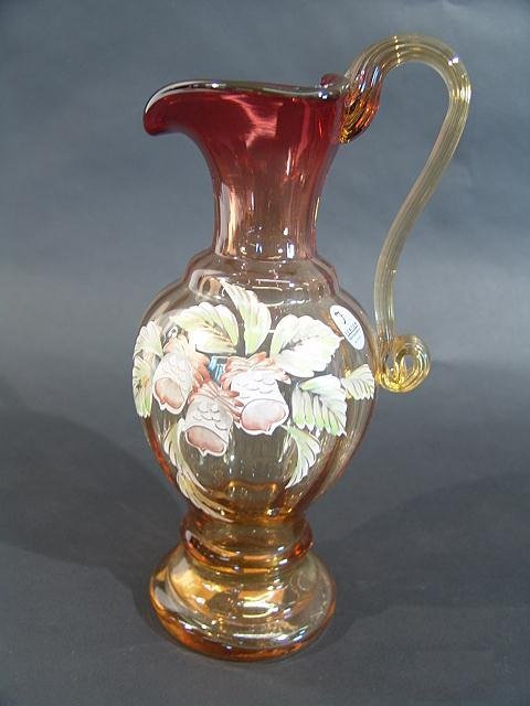 972: FENTON AUTUMN SERIES HAND PAINT PITCHER, SIGNED