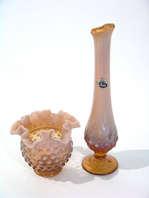 993: TWO PIECES OF FENTON OPALESCENT GLASSWARE