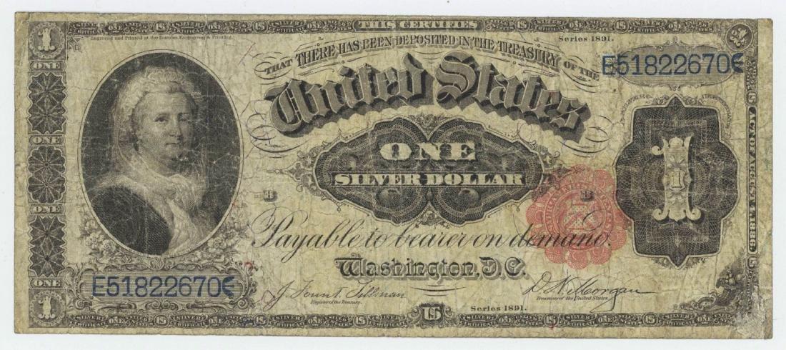 1891 MARTHA WASHINGTON SILVER CERTIFICATE