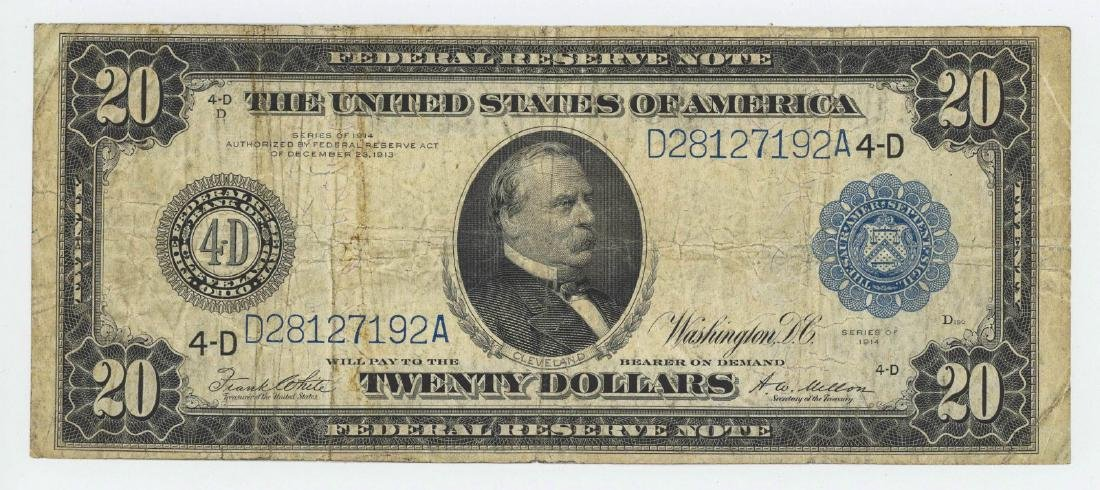 1914 TWENTY DOLLAR FEDERAL RESERVE NOTE CLEVELAND