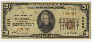 1929 TWENTY DOLLAR NATIONAL CURRENCY HANNIBAL MO