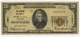 1929 TWENTY DOLLAR NATIONAL CURRENCY NEW YORK