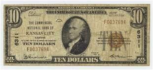 1929 TEN DOLLAR NATIONAL CURRENCY KANSAS CITY