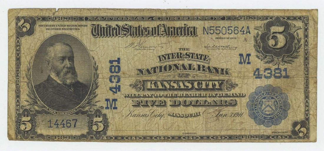 1902 FIVE DOLLAR NATIONAL CURRENCY DATE BACK
