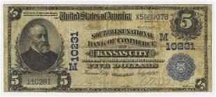 1902 FIVE DOLLAR NATIONAL CURRENCY KANSAS CITY