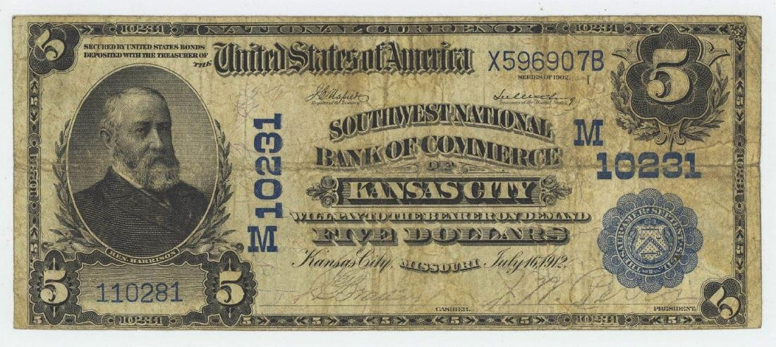 1902 FIVE DOLLAR NATIONAL CURRENCY KANSAS CITY
