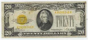 1928 TWENTY DOLLAR GOLD CERTIFICATE
