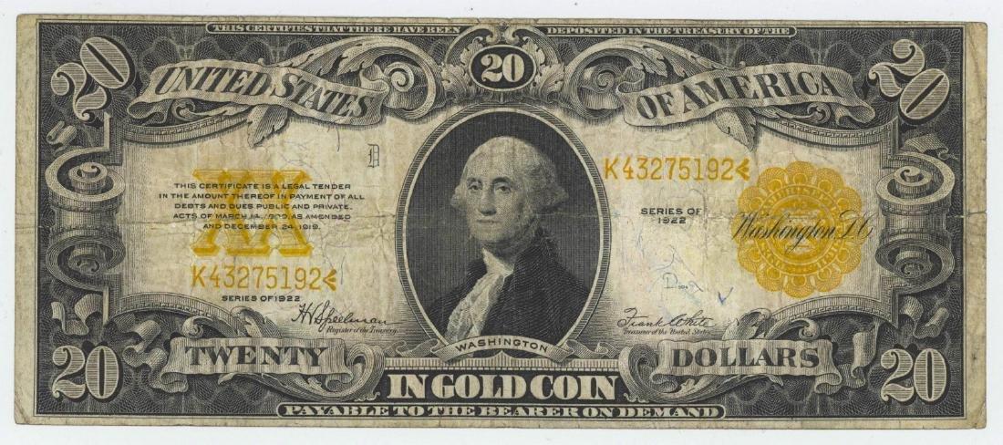 1922 TWENTY DOLLAR GOLD CERTIFICATE