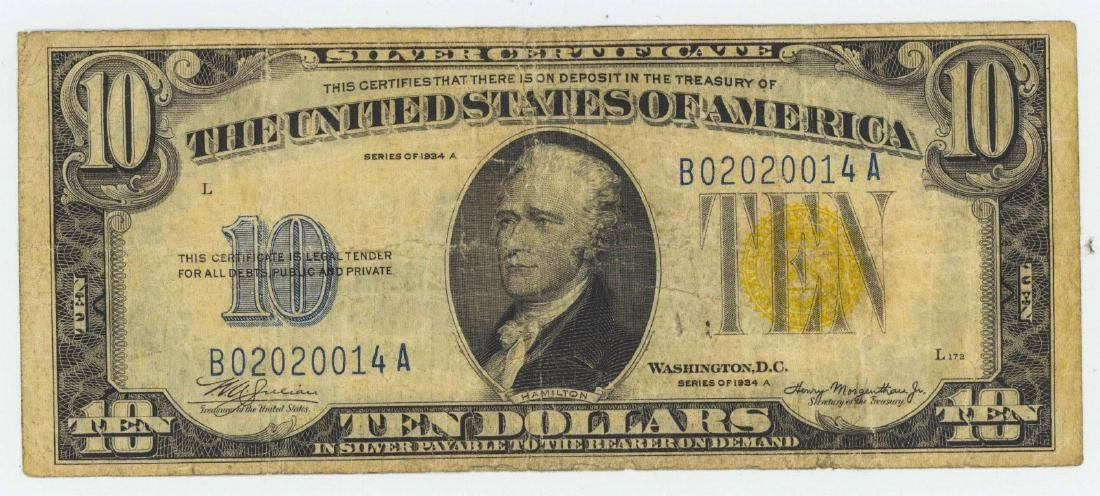 1934 TEN DOLLAR SILVER CERTIFICATE - NORTH AFRICA