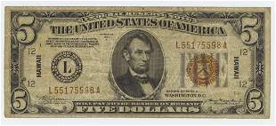 1934A FIVE DOLLAR FEDERAL RESERVE NOTE HAWAII