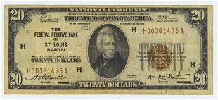 1929 TWENTY DOLLAR NATIONAL CURRENCY ST LOUIS