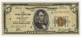 1929 FIVE DOLLAR NATIONAL CURRENCY KANSAS CITY