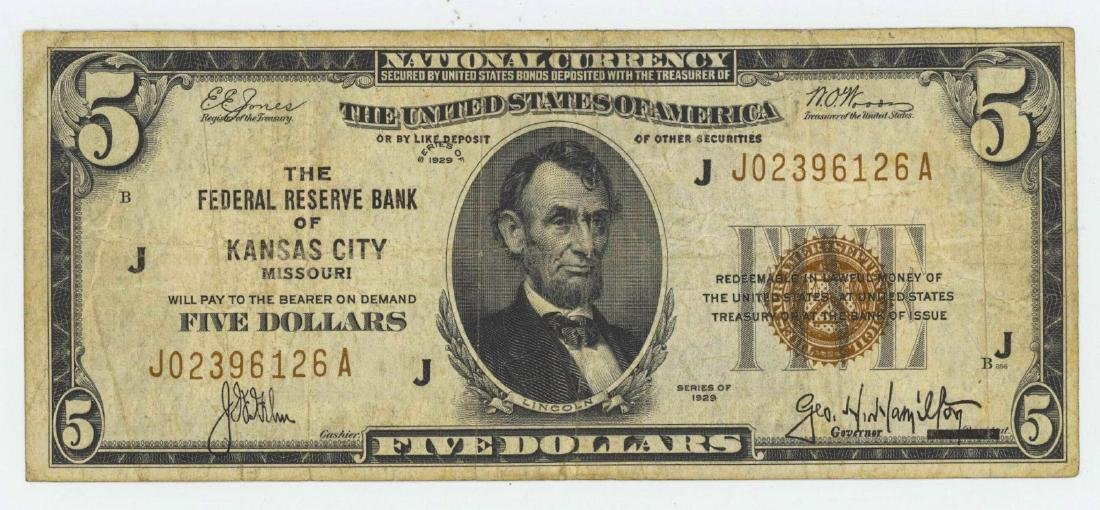 1929 FIVE DOLLAR NATIONAL CURRENCY KANSAS CITY