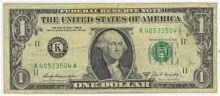 1969 ONE DOLLAR FEDERAL RESERVE RADAR NOTE
