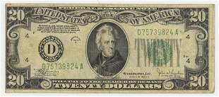1934 C TWENTY DOLLAR FEDERAL RESERVE NOTE