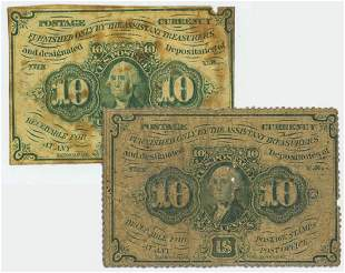 A PAIR OF TEN CENT FRACTIONAL POSTAGE CURRENCY
