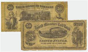 PAIR OF NORTH MISSOURI RAILROAD FIFTY DOLLAR NOTES