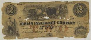 ADRIAN INSURANCE TWO DOLLAR NOTE