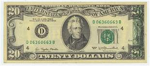 1977 TWENTY DOLLAR NOTE WITH INK TRANSFER ERROR