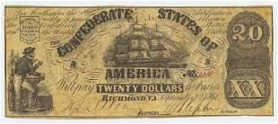 1861 CONFEDERATE TWENTY DOLLAR NOTE RICHMOND