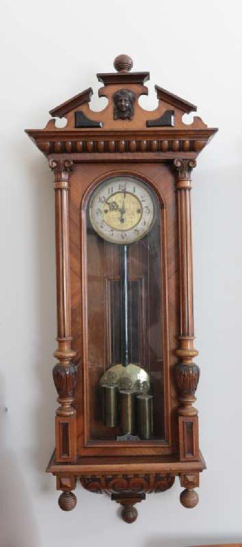 A GOOD 19TH C. AUSTRIAN 3-WEIGHT REGULATOR CLOCK