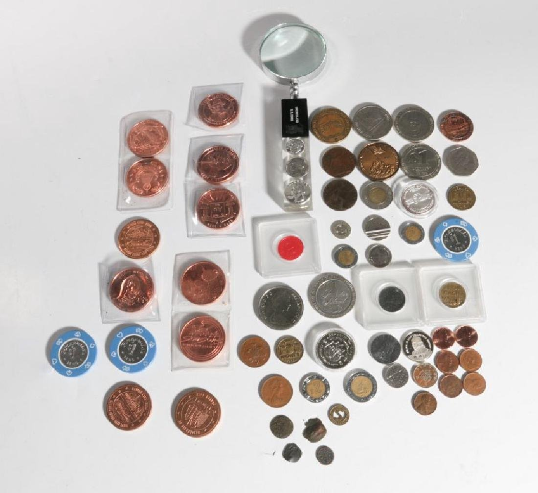ASSORTED TOKENS, COMMEMORATIVE, FOREIGN COINS