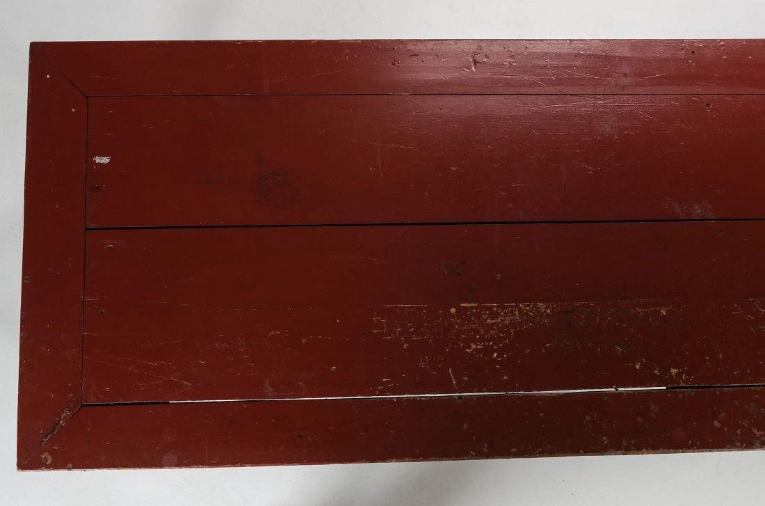 AN 8.75 FOOT LONG HARVEST TABLE IN RED PAINT - 3
