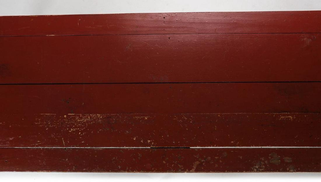 AN 8.75 FOOT LONG HARVEST TABLE IN RED PAINT - 4