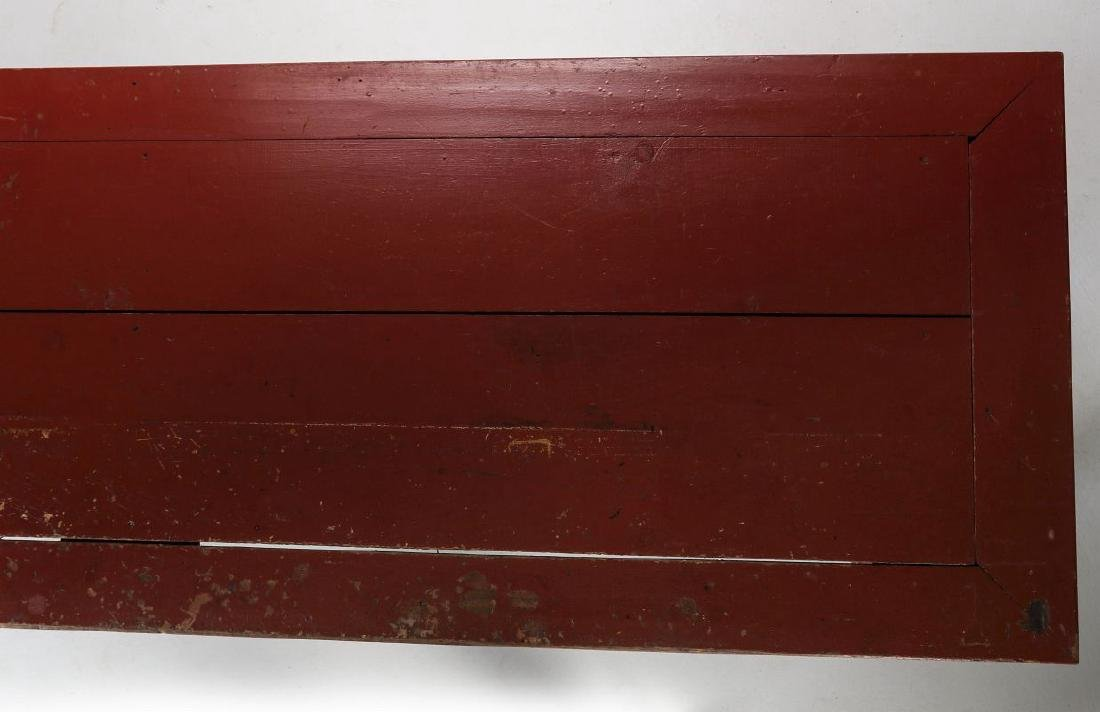 AN 8.75 FOOT LONG HARVEST TABLE IN RED PAINT - 5