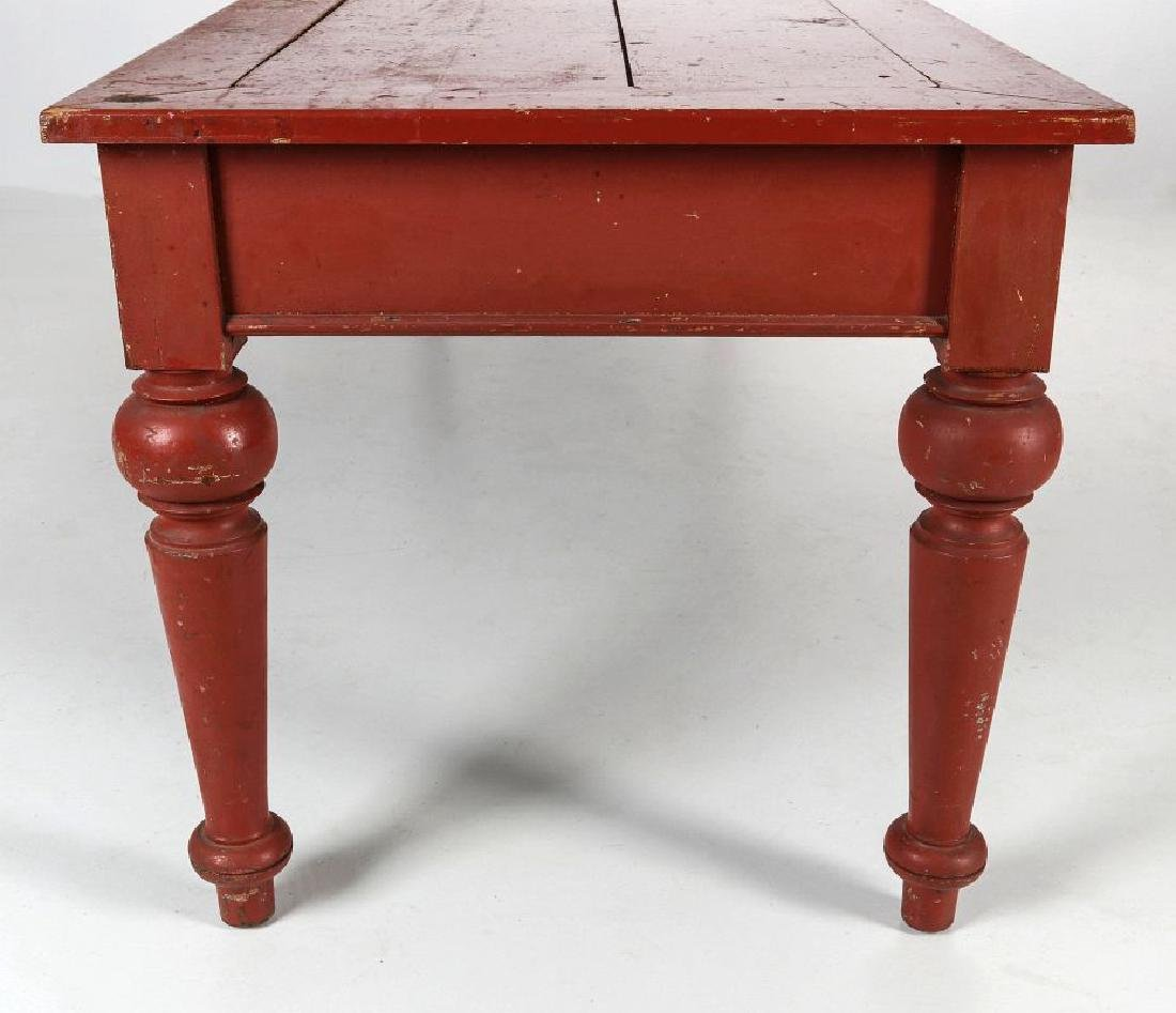 AN 8.75 FOOT LONG HARVEST TABLE IN RED PAINT - 7