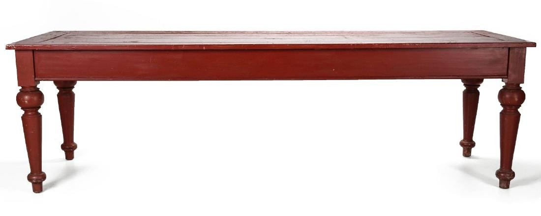 AN 8.75 FOOT LONG HARVEST TABLE IN RED PAINT - 8