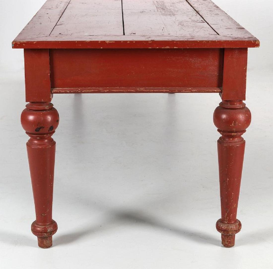 AN 8.75 FOOT LONG HARVEST TABLE IN RED PAINT - 9