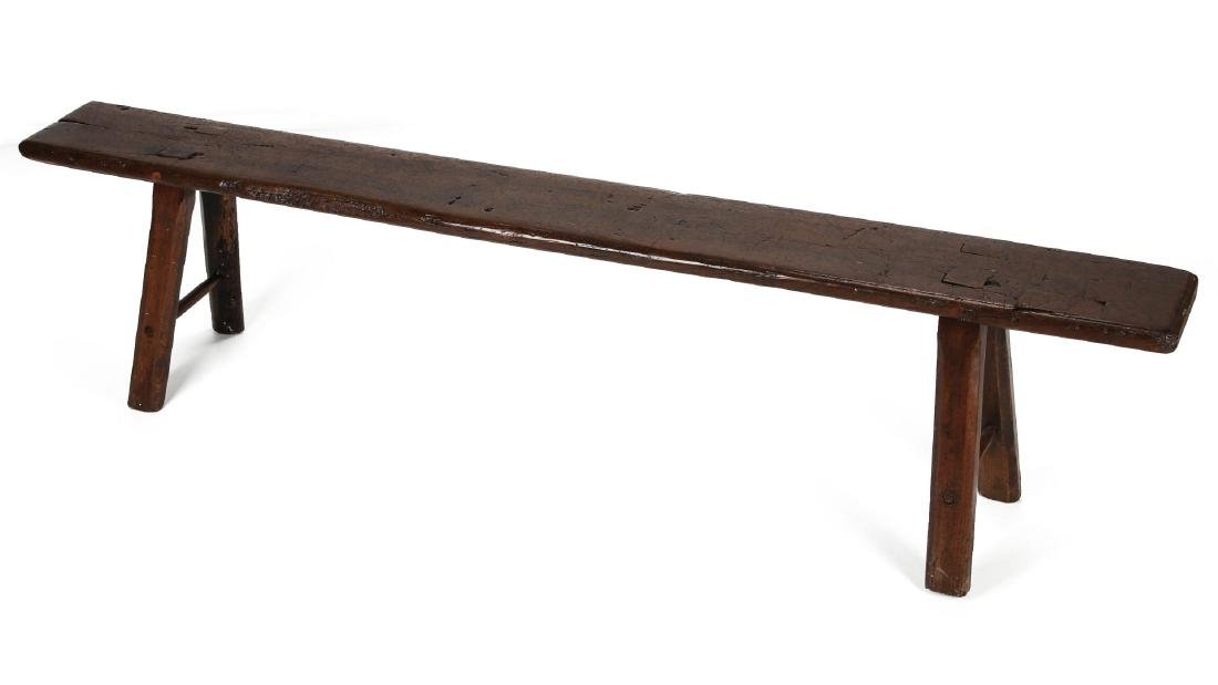 A EARLY 18TH / EARLY 19TH CENTURY PRIMITIVE BENCH