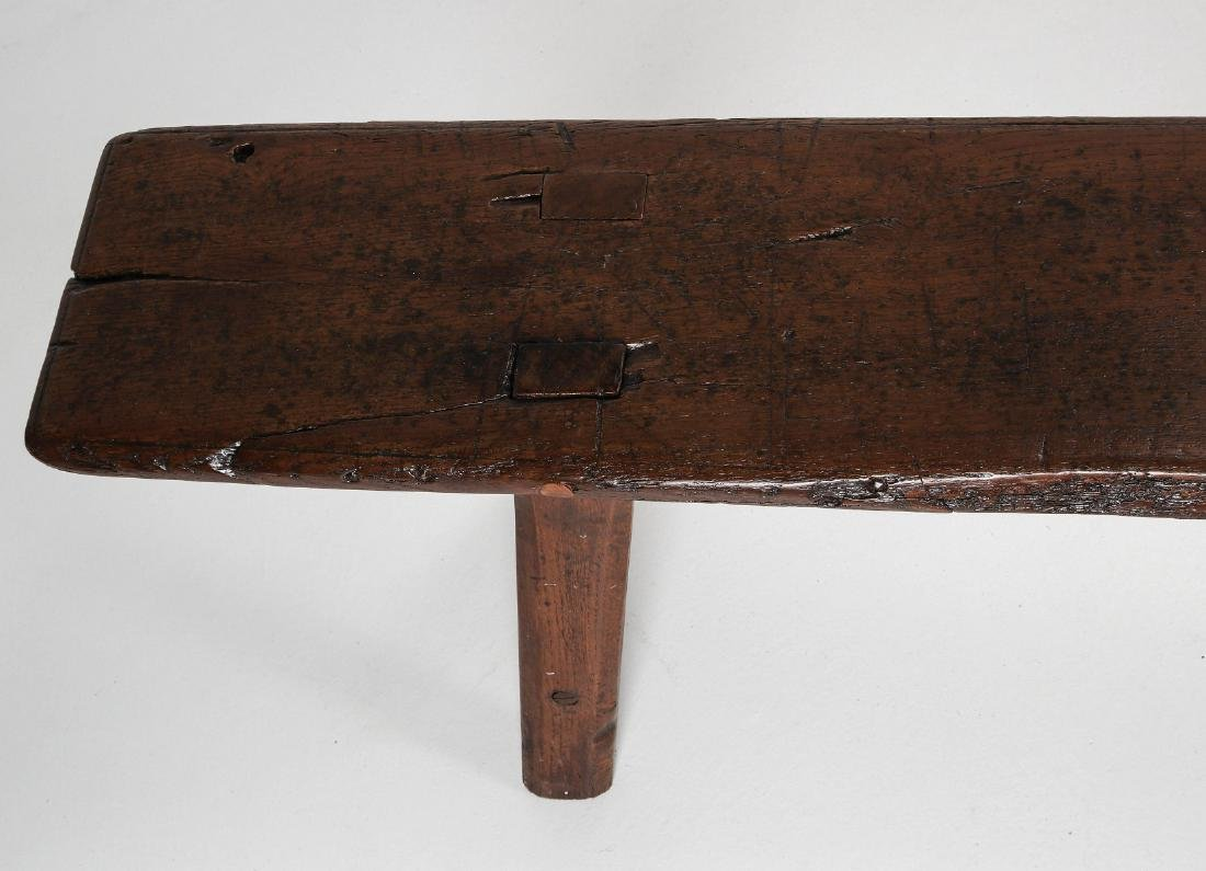 A EARLY 18TH / EARLY 19TH CENTURY PRIMITIVE BENCH - 4