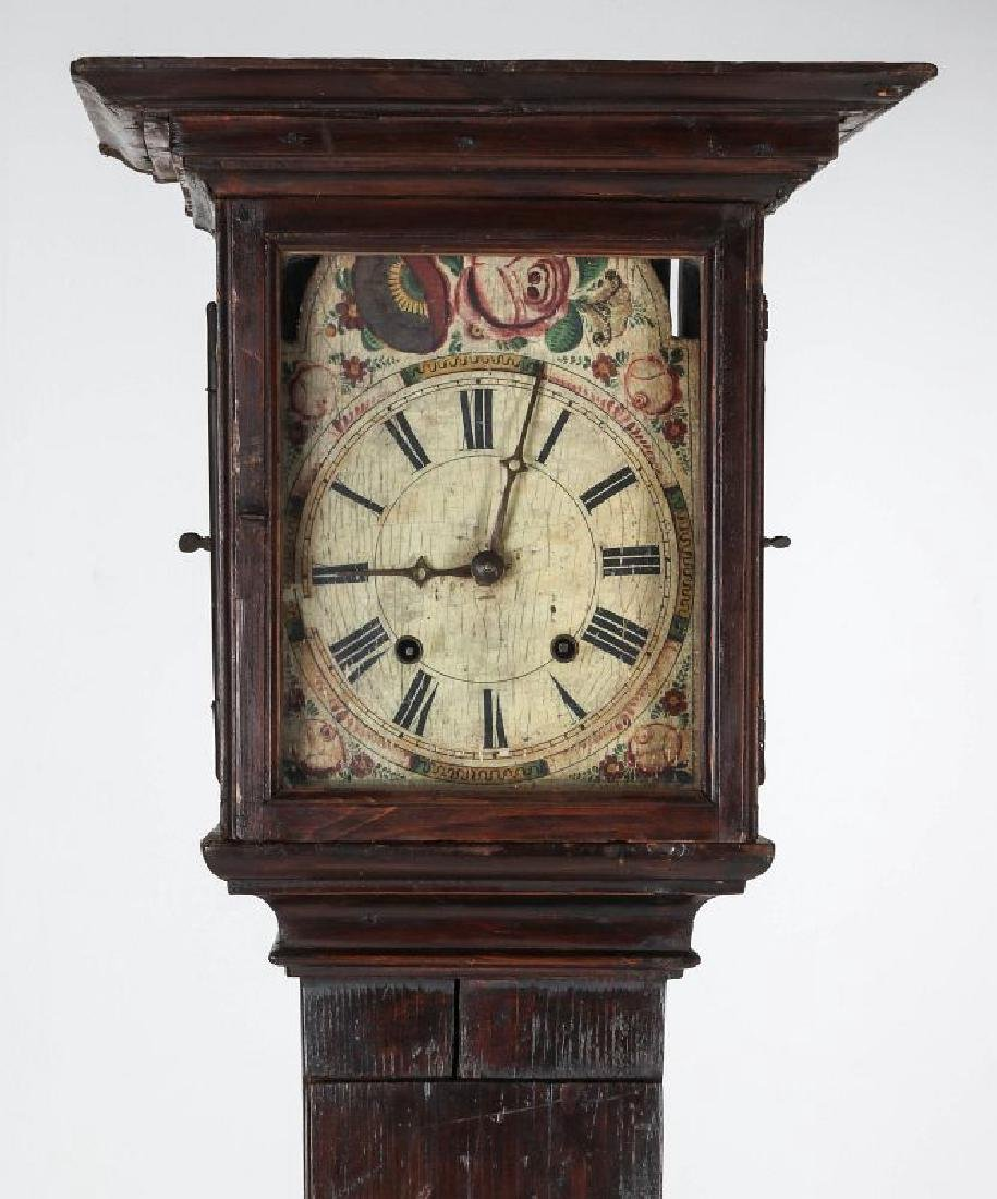 AN EARLY 19TH C PAINTED TALL CLOCK 72 INCHES HIGH
