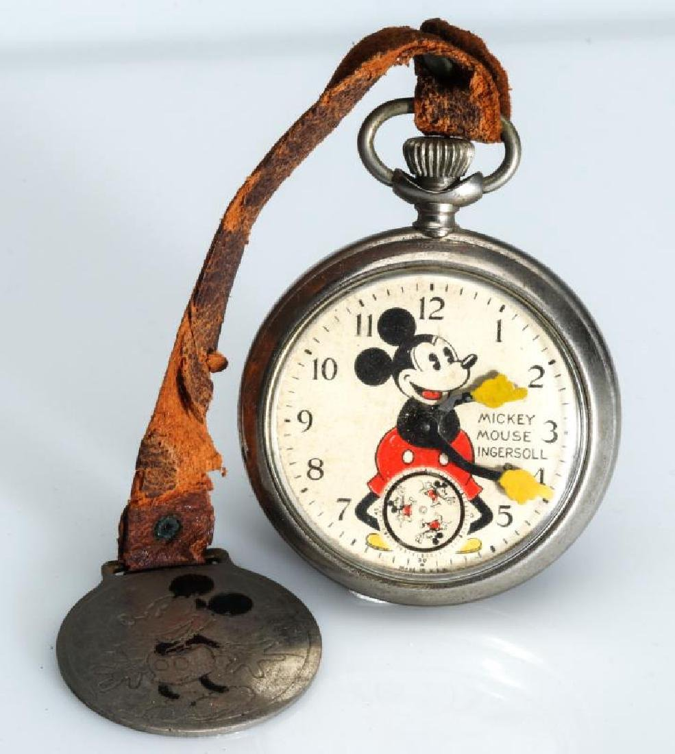 CIRCA 1933 INGERSOLL MICKEY MOUSE WATCH AND FOB