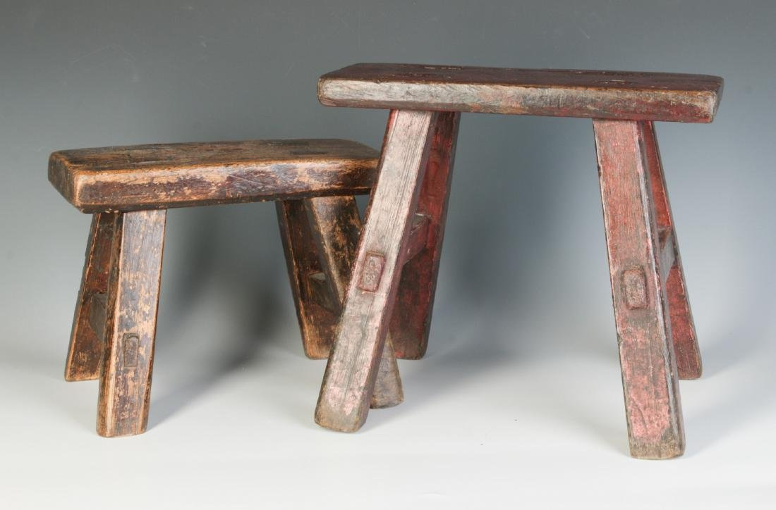 TWO GOOD EARLY 19TH CENTURY CRICKET STOOLS