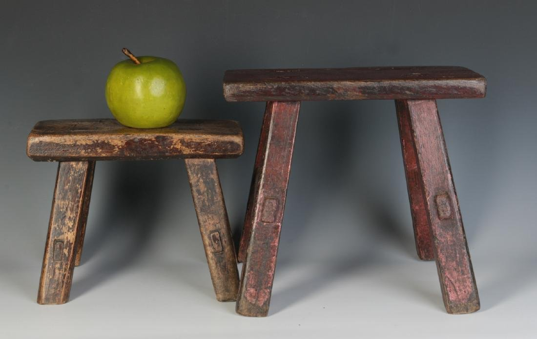 TWO GOOD EARLY 19TH CENTURY CRICKET STOOLS - 4