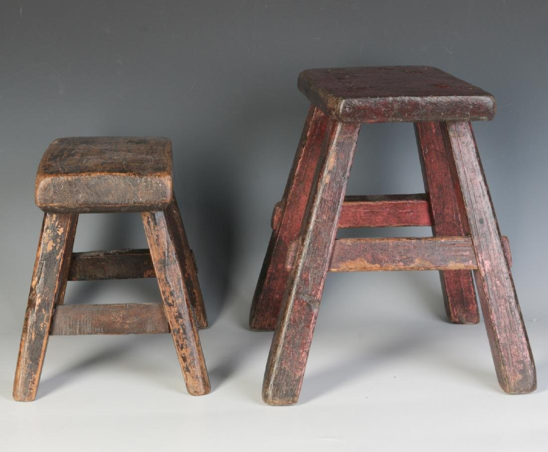 TWO GOOD EARLY 19TH CENTURY CRICKET STOOLS - 5