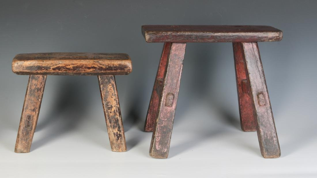 TWO GOOD EARLY 19TH CENTURY CRICKET STOOLS - 7