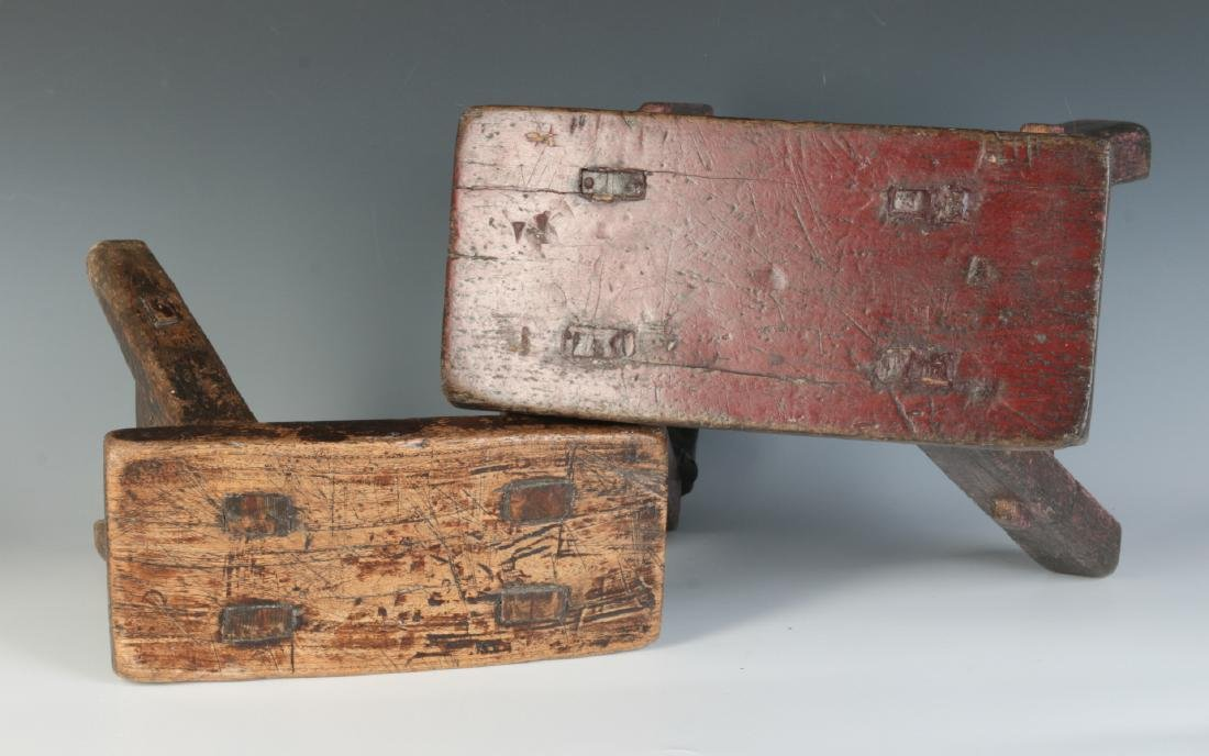 TWO GOOD EARLY 19TH CENTURY CRICKET STOOLS - 8