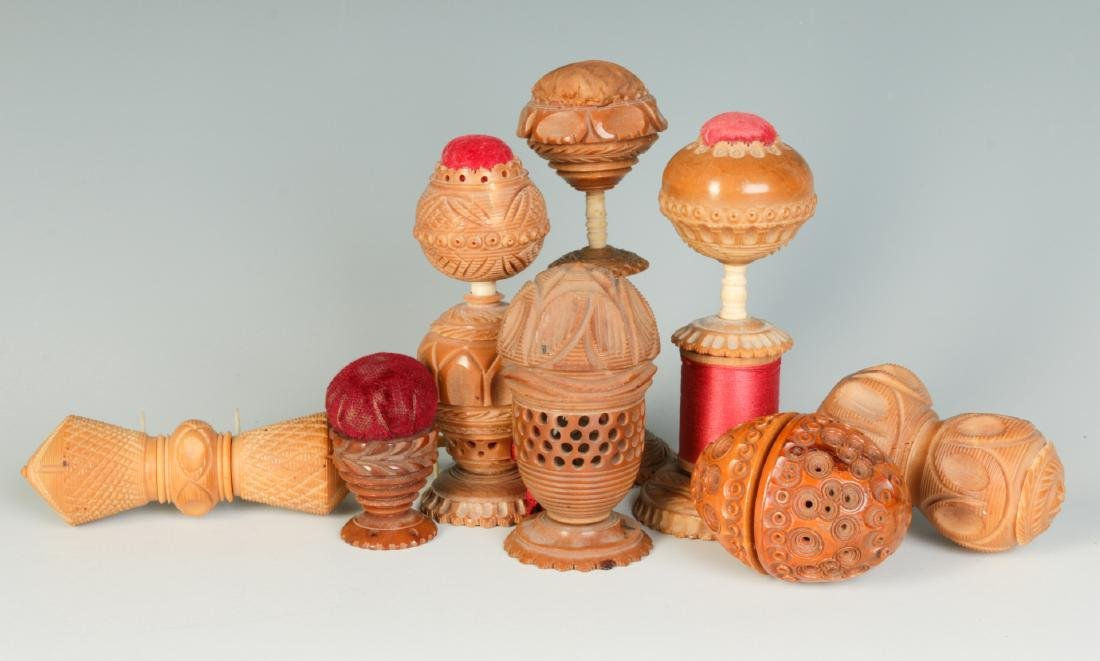 COLLECTION OF VEGETABLE IVORY SEWING ACCOUTREMENTS