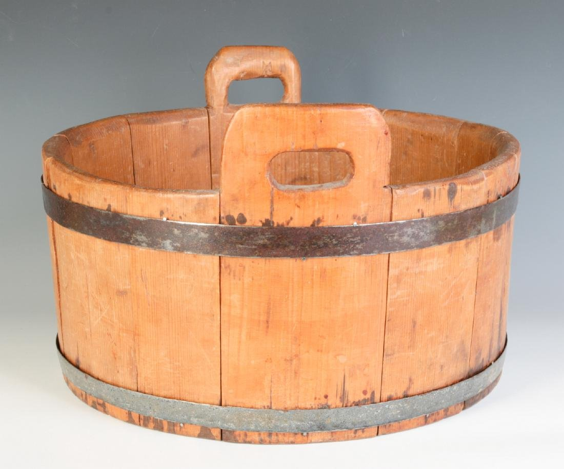 A 19TH CENTURY BUCKET WITH HIGH STAVE HANDLES - 2