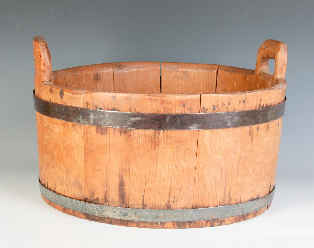 A 19TH CENTURY BUCKET WITH HIGH STAVE HANDLES - 3