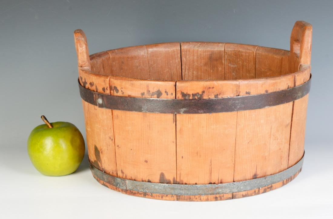 A 19TH CENTURY BUCKET WITH HIGH STAVE HANDLES - 5