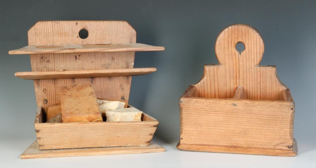 TWO 19TH CENTURY PINE WALL HANGING SOAP BOXES