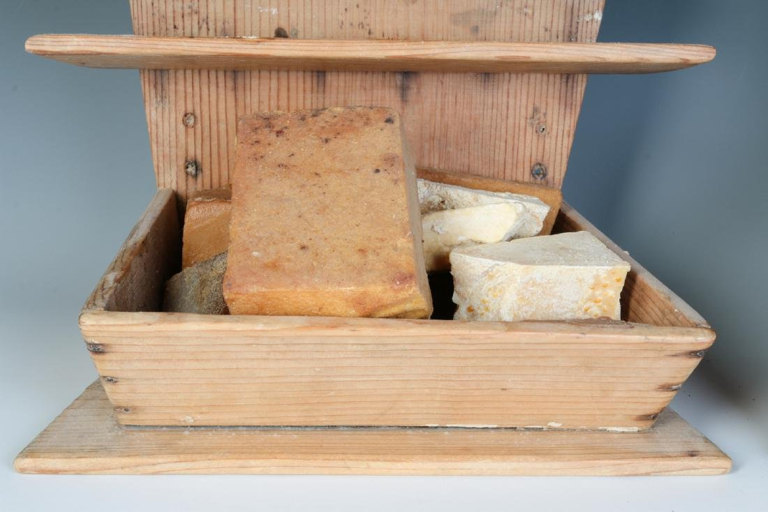 TWO 19TH CENTURY PINE WALL HANGING SOAP BOXES - 2