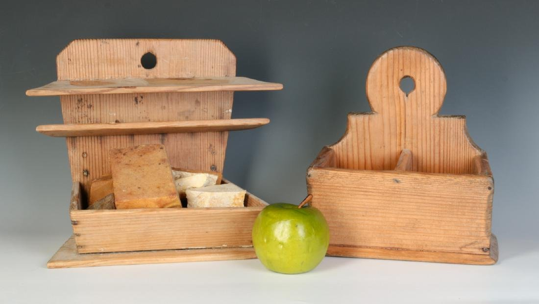 TWO 19TH CENTURY PINE WALL HANGING SOAP BOXES - 4